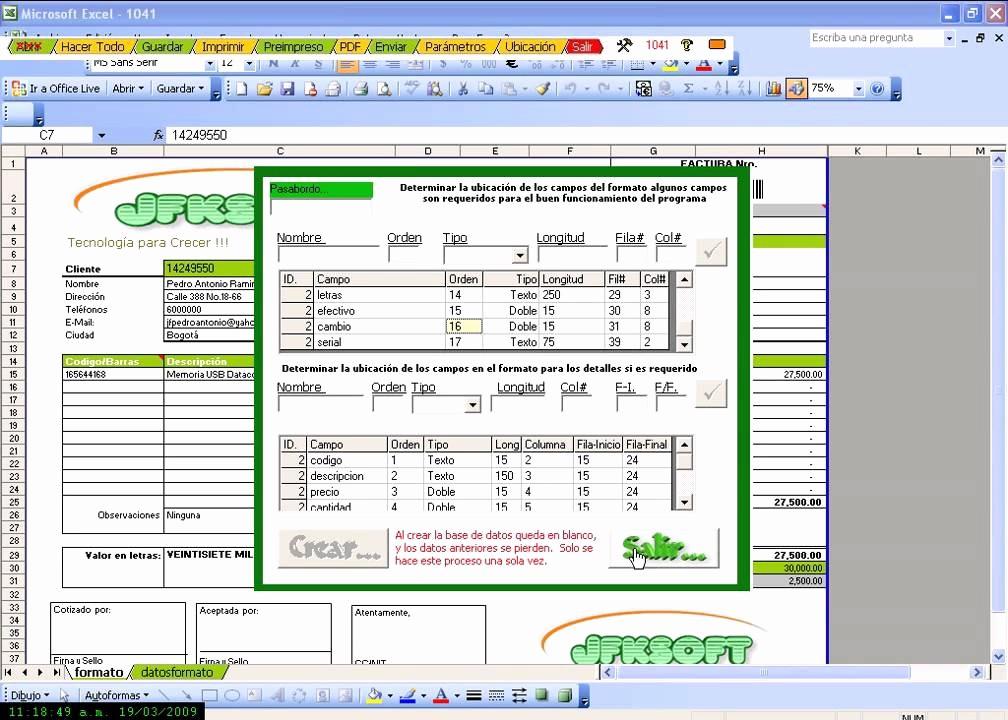 Formato De Facturas En Excel Elegant Factura Excel Facturacion Con Excel Graba Envia Crea Pdf