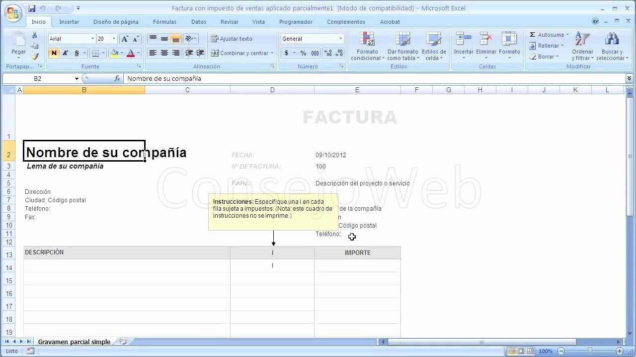 Formato De Facturas En Excel Elegant O Hacer Una Factura En Excel 2007 2010