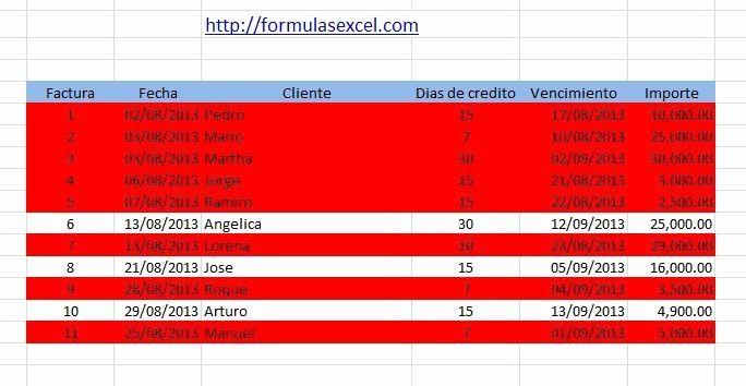 Formato De Facturas En Excel Lovely Marcar Facturas Vencidas Con formato Condicional Excel