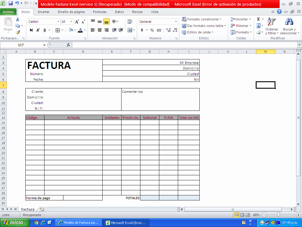 Formato De Facturas En Excel Luxury Descargar Factura