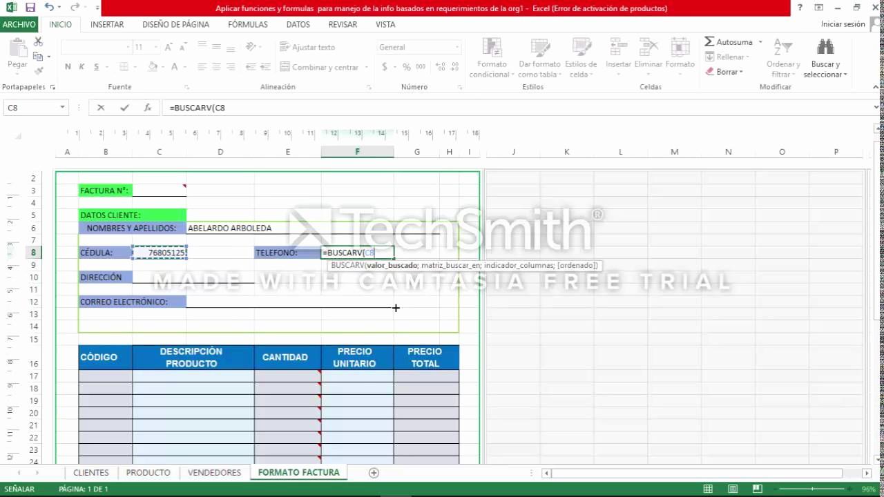 Formato De Facturas En Excel Luxury Funciones En formato De Factura Excel 2016