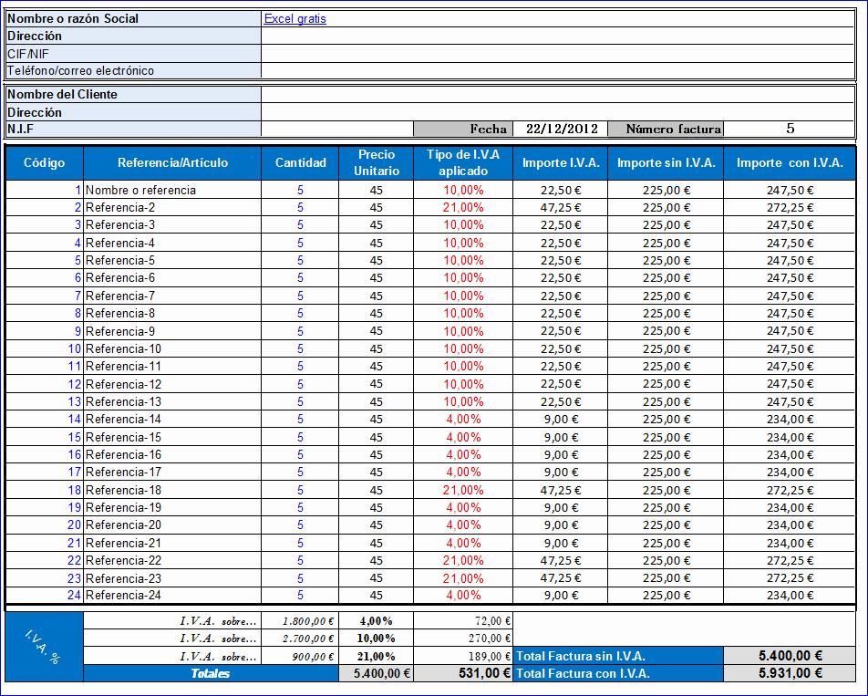 Formato De Facturas En Excel New Iva