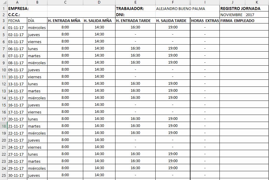 Formato De Horarios De Trabajo Beautiful Plantilla Autogenerada Del Horario Laboral En Excel