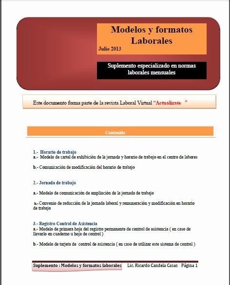 Formato De Horarios De Trabajo Luxury Manual Laboral Modelos Y formatos Laborales Jornada