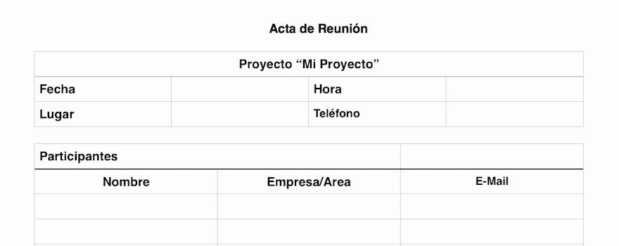 Formato De Minuta De Reunion New Acta De Reunión O Minuta