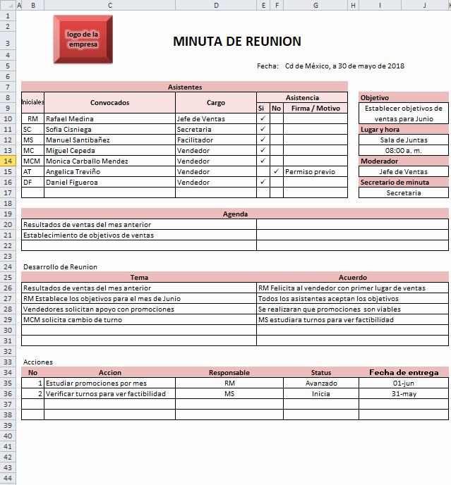Formato De Minuta De Reunion Unique La Minuta Ejemplos Y formatos