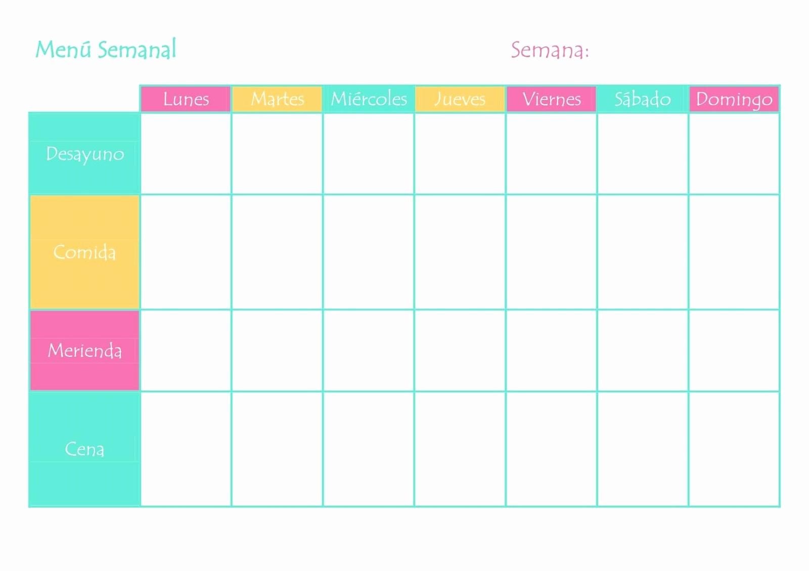 Formato De Minuta En Blanco Luxury 7 Plantillas Para Planificar El MenÚ Semanal Alejandra