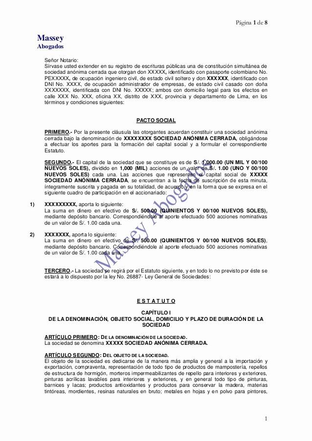 Formato De Minuta En Blanco New Modelo De Minuta De ConstituciÓn De Empresa Sac