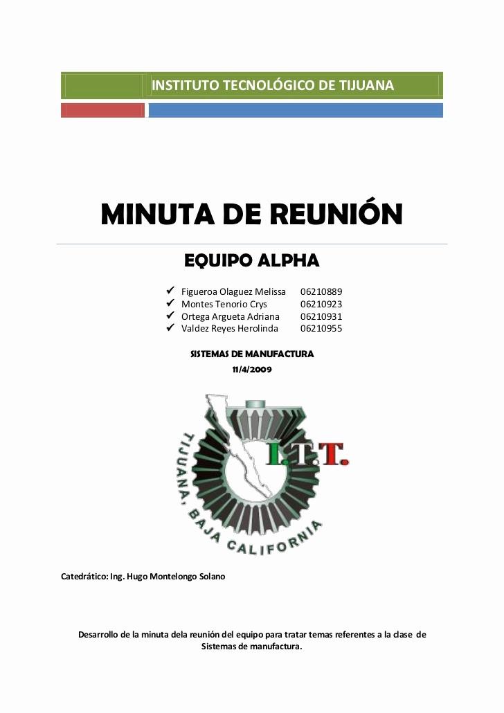 Formato De Minutas De Reunion Unique Ejemplo Minuta