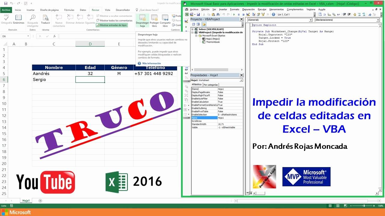 Formato De Pyg En Excel Awesome Impedir La Modificación De Celdas Editadas En Excel – Vba