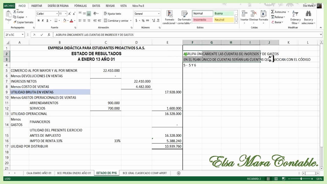 Formato De Pyg En Excel Best Of 33 Estado De Pérdidas Y Ganancias ó Estado De Resultados