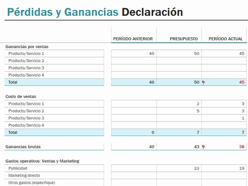 Formato De Pyg En Excel Best Of Excel 2013 Balance De Pérdidas Y Ganancias