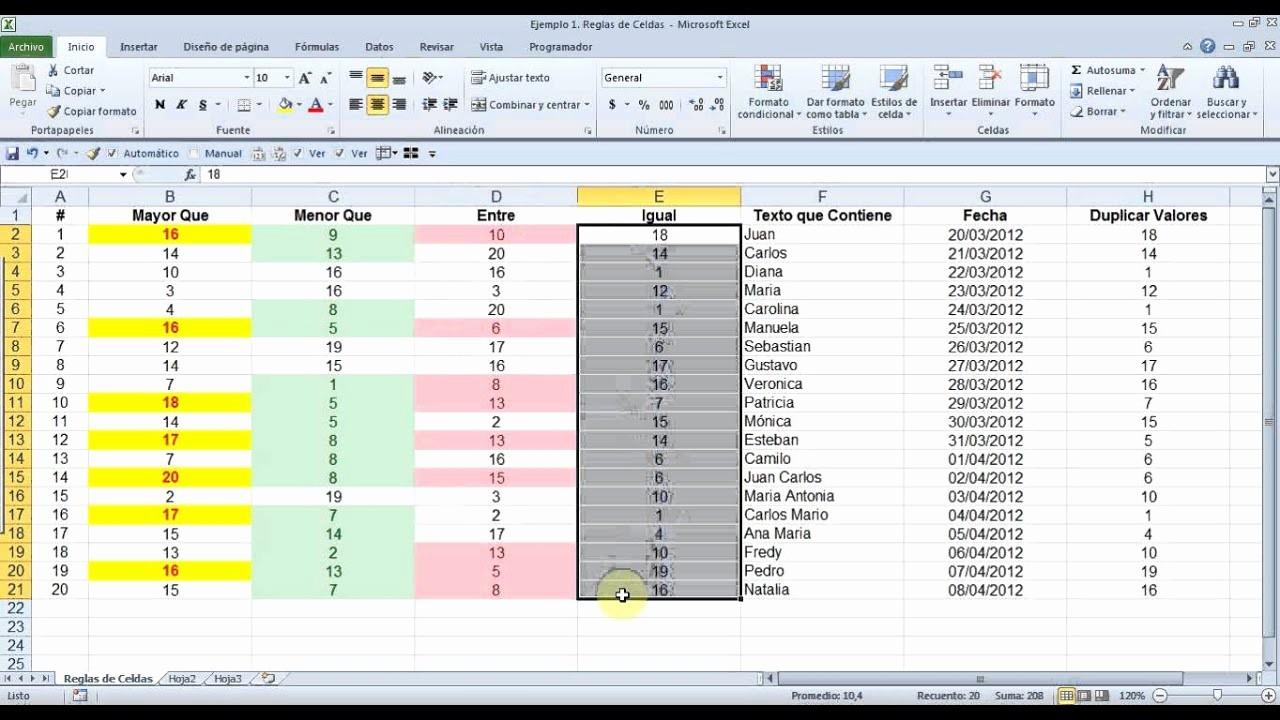 Formato De Pyg En Excel Best Of Excel formato Condicional Reglas De Celdas