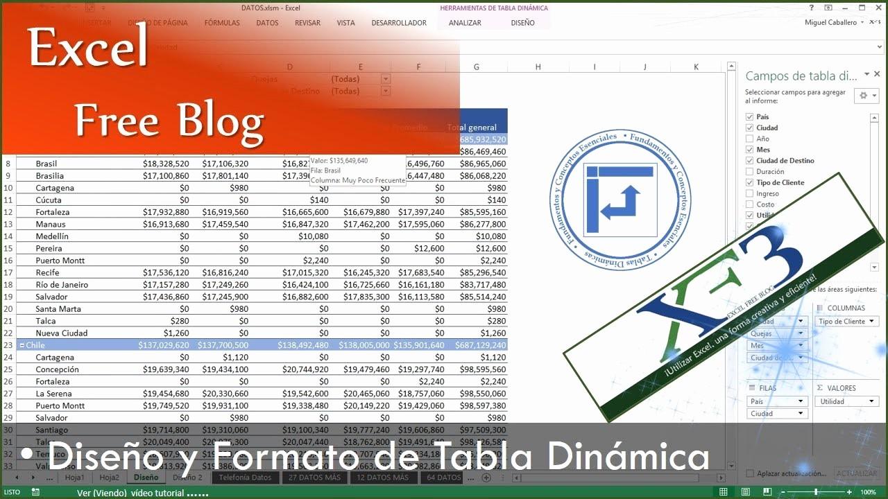 Formato De Pyg En Excel Fresh Tablas Dinámicas 06 Diseño Y formato De Una Tabla