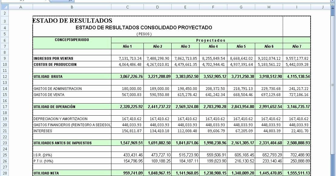 Formato De Pyg En Excel Lovely Ejemplo De Estado De Resultados En Excel