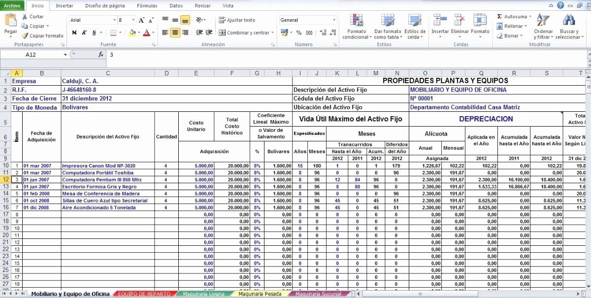 Formato De Pyg En Excel New formato En Excel De Calculo De Depreciacion Activos Bs