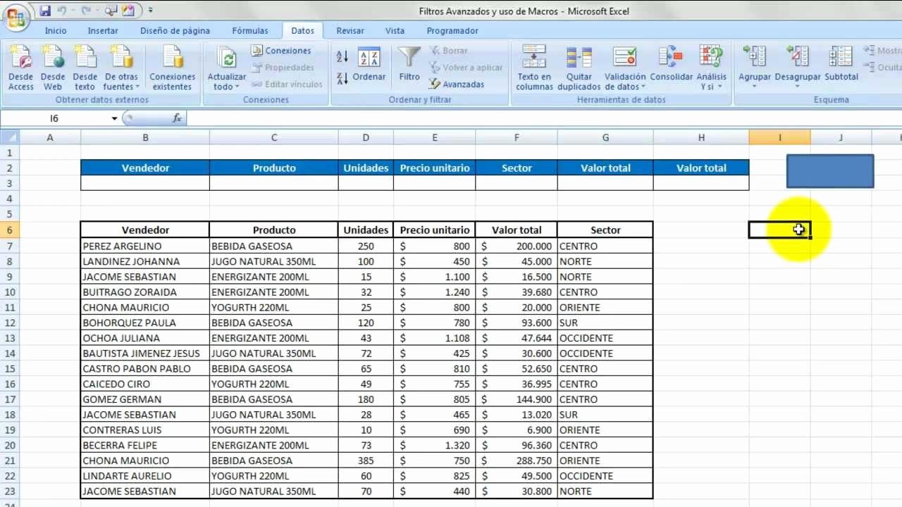 Formato De Pyg En Excel Unique Filtros Avanzados Y Uso De Macros