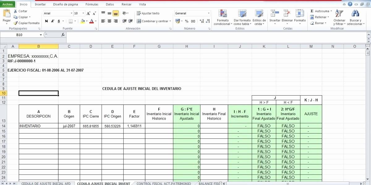 Formato De Pyg En Excel Unique formatos En Excel De Ajustes Por Inflacion Fiscal Bs 11