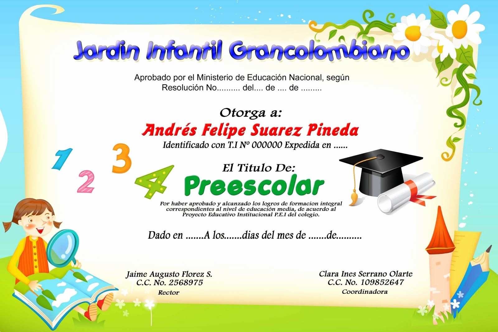 Formato De Reconocimiento Para Editar Elegant formato De Diplomas De Preescolar Imagui … Yo