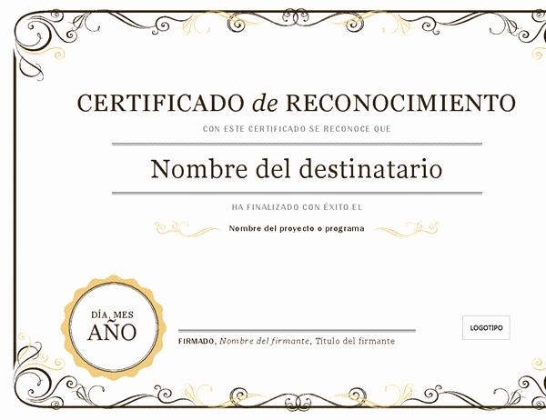 Formato De Reconocimiento Para Editar Fresh Certificados Fice