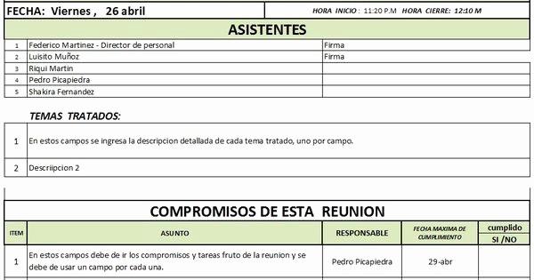 Formato De Reuniones De Trabajo Inspirational formato Acta De Reunion Proyecto Pinterest