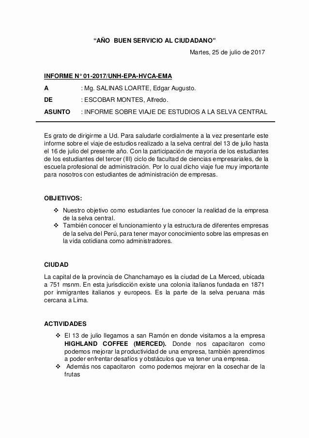 Formato De Un Informe Simple Awesome Ejemplo De Un Informe