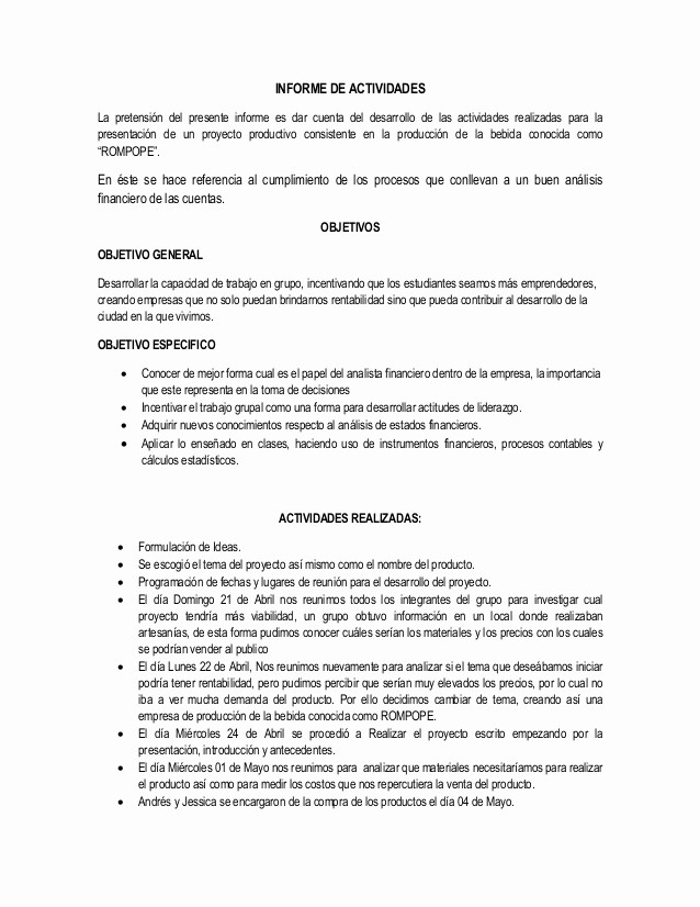 Formato De Un Informe Simple Beautiful Modelo De Informe De Actividades
