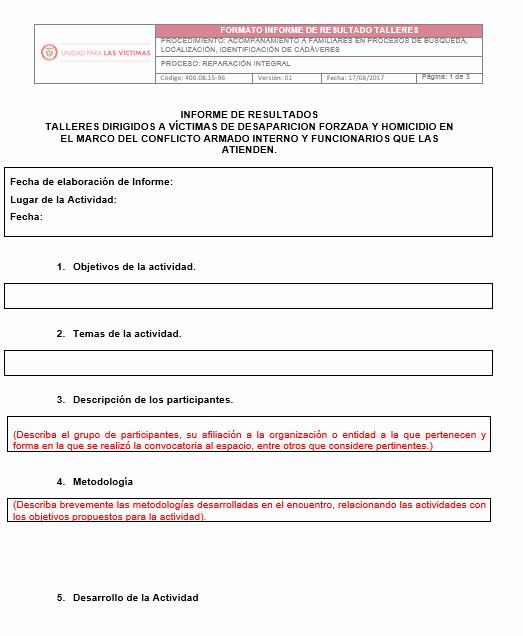 Formato De Un Informe Simple Best Of formato Informe De Resultados Talleres V1