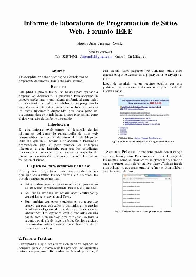 Formato De Un Informe Simple Best Of Informe Ieee