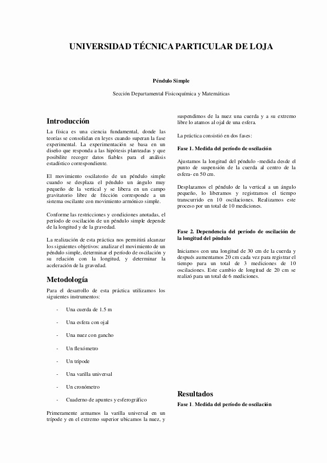 Formato De Un Informe Simple Fresh Informe Péndulo Simple
