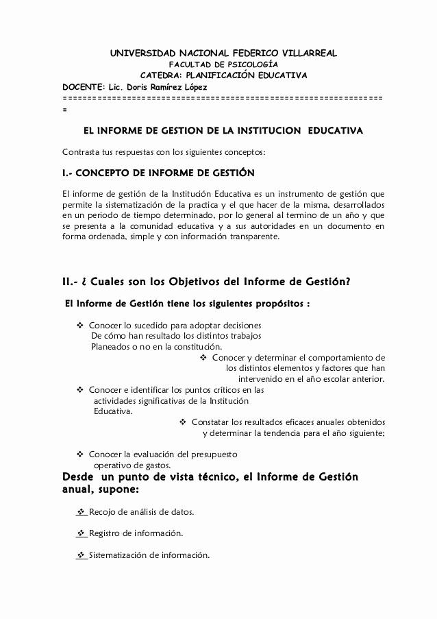 Formato De Un Informe Simple Inspirational El Informe De Gestion De La Institucion Educativa