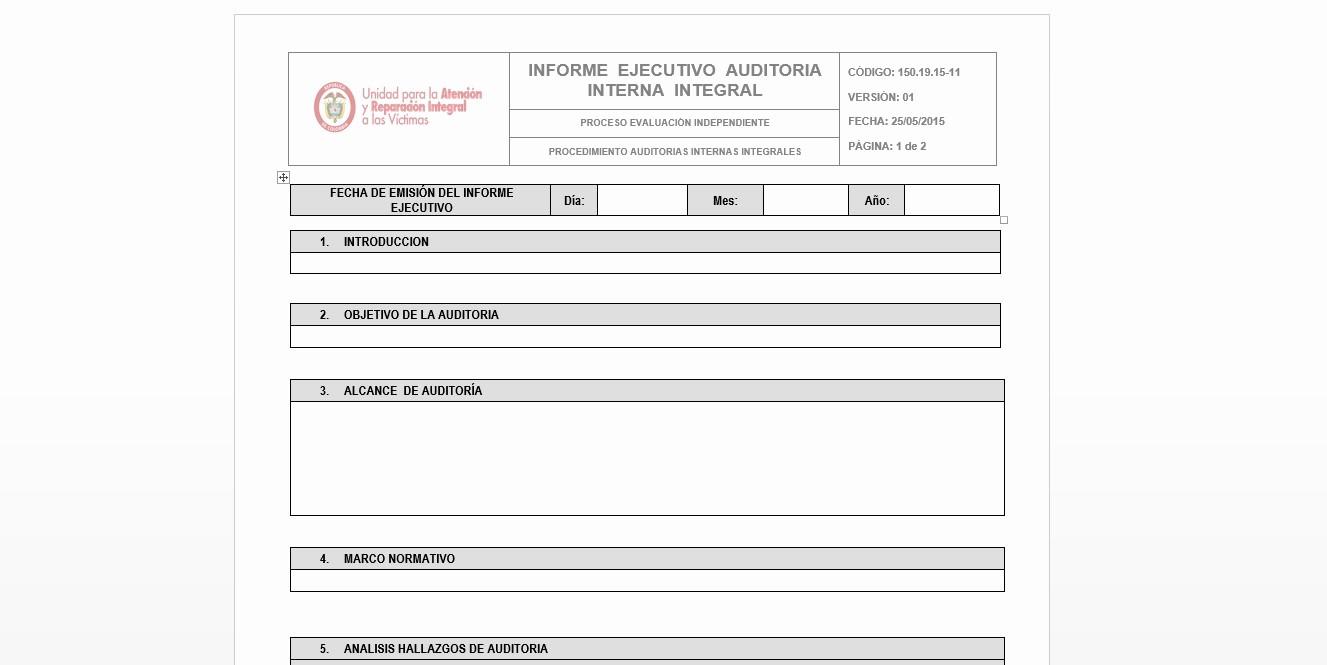 Formato De Un Informe Simple Inspirational formato Informe Ejecutivo Auditoria Interna Integral V1