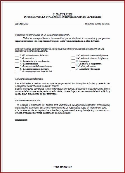 Formato De Un Informe Simple Inspirational Matemáticas 1º Eso Modelo Informe De Evaluación De Las