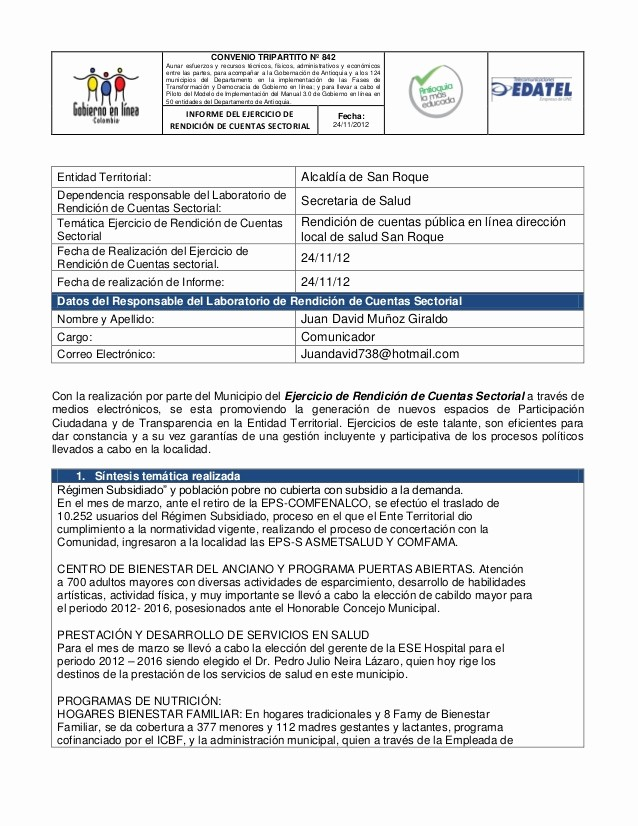 Formato De Un Informe Simple Lovely Gel Co formato Informe Ejer De Rend De Ctas