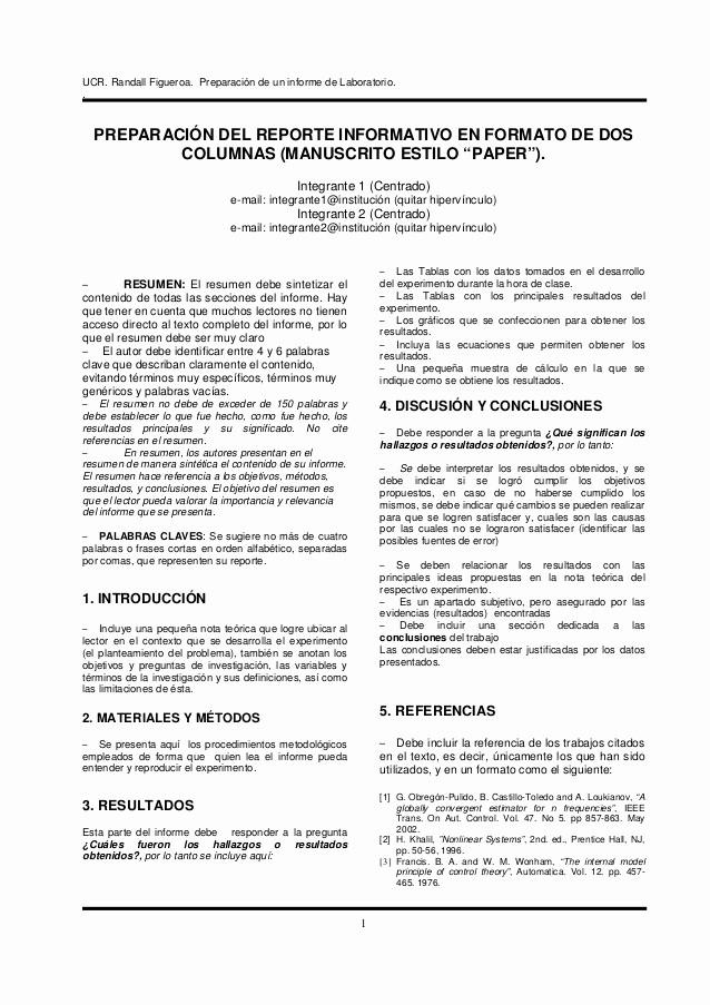 Formato De Un Informe Simple New formato De Un Informe De Laboratorio
