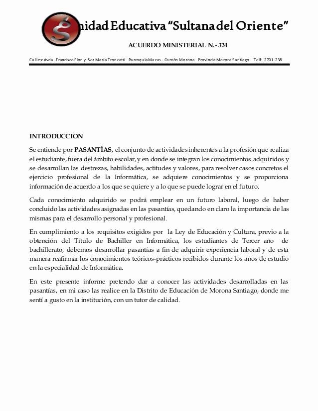 Formato De Un Informe Simple New formato Informe Pasantias 2015 2016