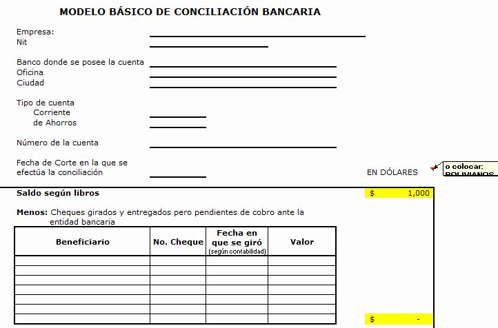 Formato Extracto Bancario En Excel Beautiful Modelo Excel De Conciliacion Bancaria Bolivia Impuestos Blog