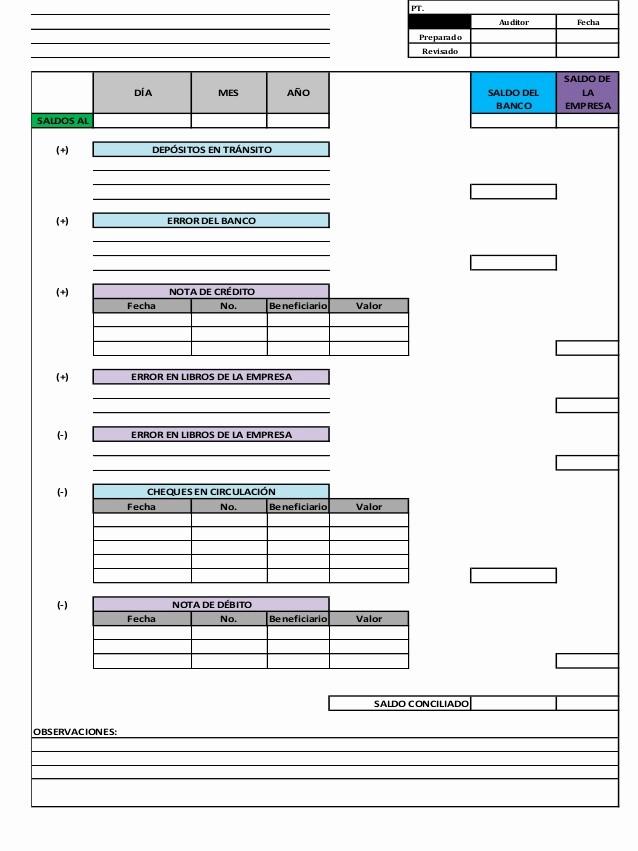 Formato Extracto Bancario En Excel Best Of formato De La Conciliacion Bancaria
