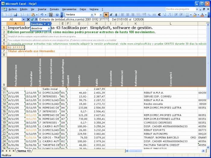 Formato Extracto Bancario En Excel Elegant Exporta norma 43 A Excel Descargar