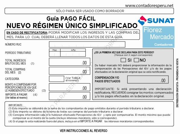 Formato Factura Regimen Simplificado Excel Beautiful Descarga La Nueva Gua De Pago Del Rus Sunat 2017