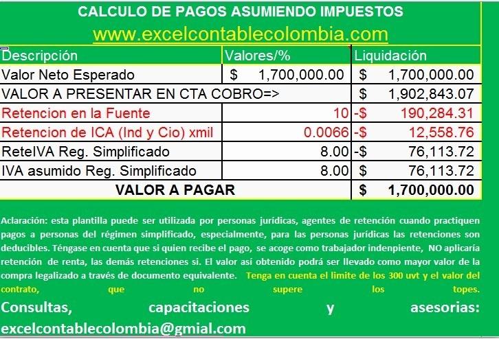 Formato Factura Regimen Simplificado Excel Best Of Calculo Pagos asumiendo Impuestos En Excel