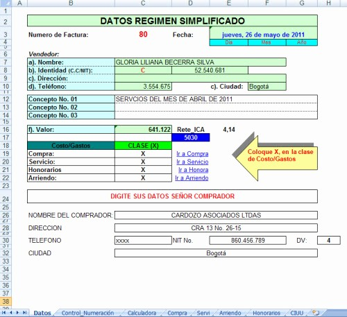Formato Factura Regimen Simplificado Excel Fresh Documento Equivalente