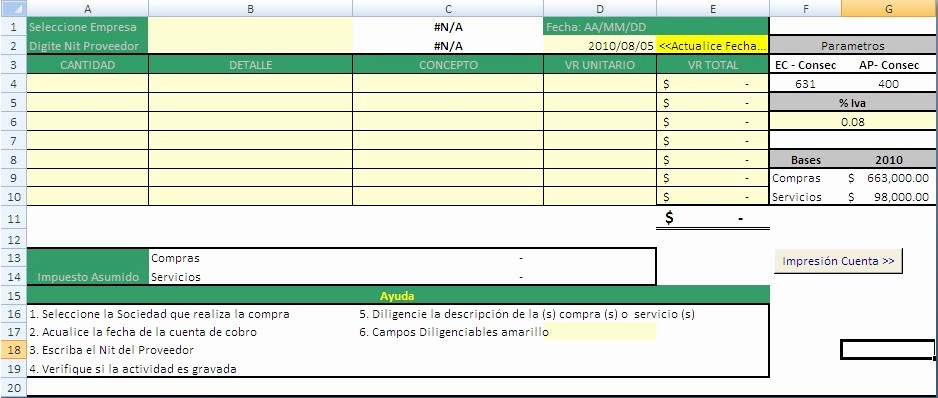 Formato Factura Regimen Simplificado Excel Inspirational Excel Contable Colombia