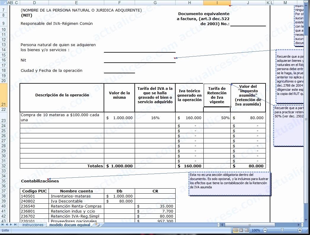 Formato Factura Regimen Simplificado Excel Luxury Facturas