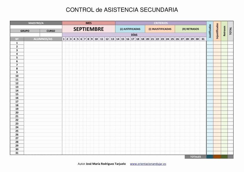Formato Lista De asistencia Escolar Fresh Control De asistencia Infantil Primaria Y Secundaria Word