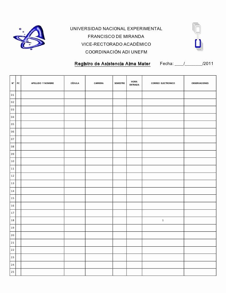 Formato Lista De asistencia Escolar Fresh Registro De asistencia 2011
