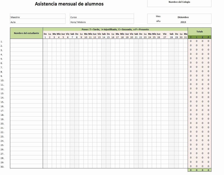 Formato Lista De asistencia Escolar Lovely formato De Lista De asistencia