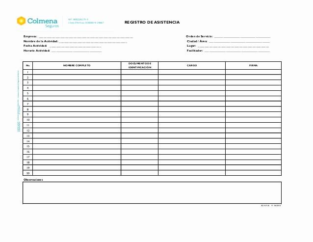 Formato Lista De asistencia Escolar Lovely Registro De asistencia Registro De asistencia