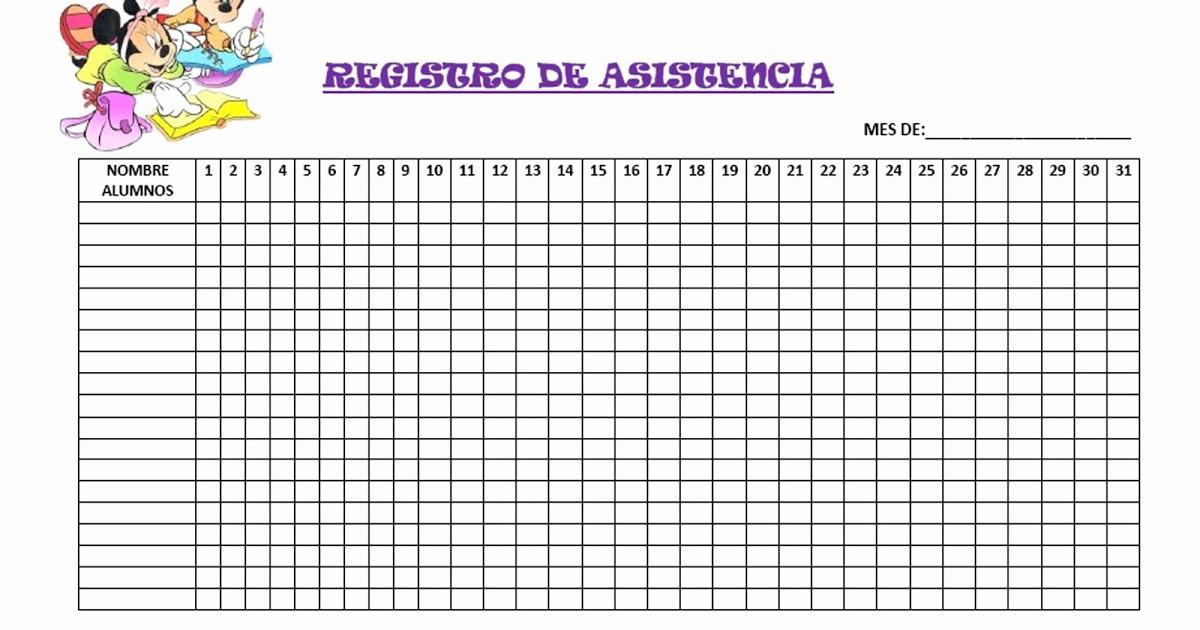 Formato Lista De asistencia Escolar Luxury Registro De asistencia El Blog De Olimpia