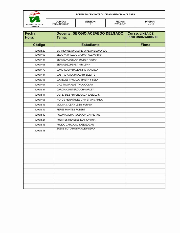 Formato Lista De asistencia Escolar New Control De asistencia A Clases